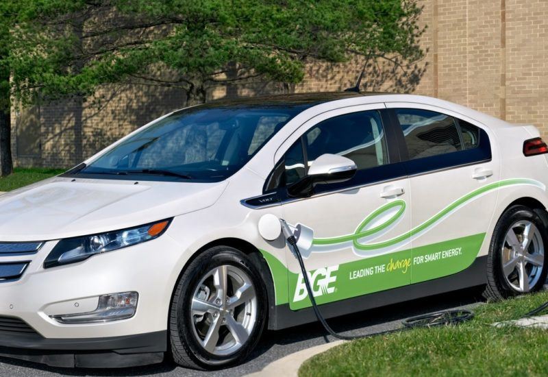 BGE Chevy Volt at a charging station
