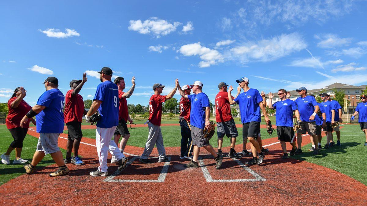 Softball teams shaking hands