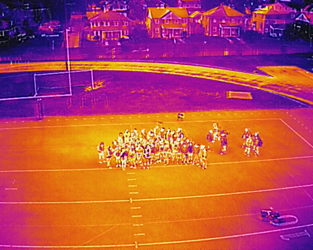 thermal image of Mervo students and BGE UAS team taken from a drone