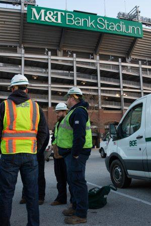 BGE EDRU crew outside M&T Bank Stadium