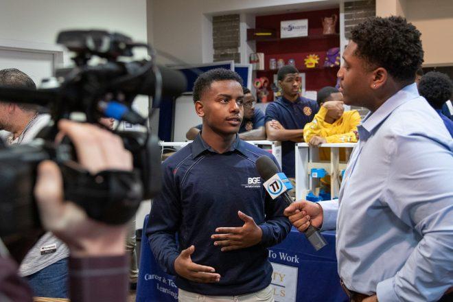 Mervo student speaks with CTE video production team