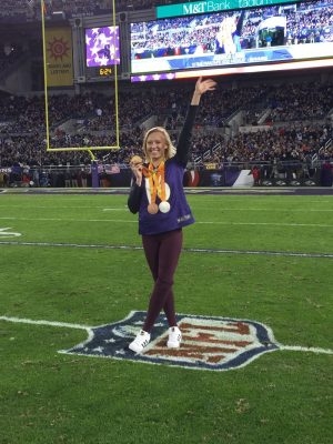 Jessica, wearing her gold, silver and bronze medals from the Rio Paralympics, was honored during a Ravens pregame ceremony in late 2016.