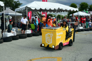Irene of Sparkle Effect races in the 2016 Icebox Derby race. Sparkle Effect won second place.