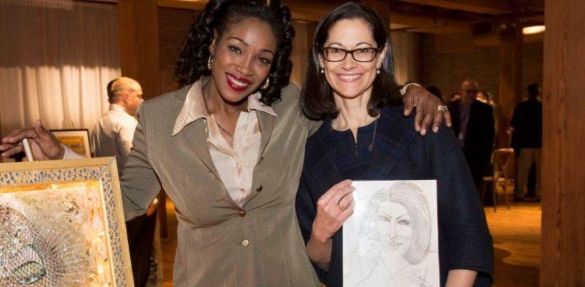 Elizabeth with Anne Pramaggiore and artwork